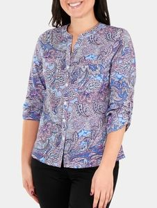 NY COLLECTION SIZE XS PETITE PAISLEY SHIRT TOP